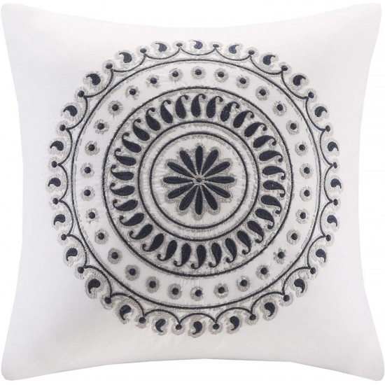 INK+IVY Fleur Fashion Cotton Throw Pillow, Csual Embroidered Square Decorative Pillow, 18X18, Navy