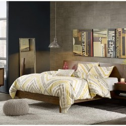 INK+IVY Clark Frame with Headboard and 2 Built-in Attached Nightstands with Hidden Drawers Platform beds with Wood Slat Support, King, Pecan