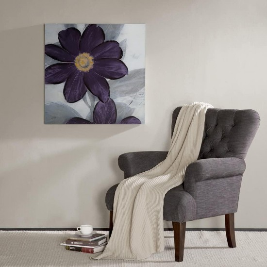 Madison Park 30 X 30 inch, Transitional Décor Midnight Bloom Plum Painted Hand Embellished Floral Canvas Wall Art, See