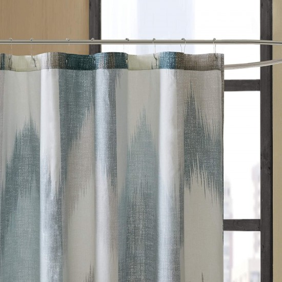 INK+IVY Alpine Shower Curtain Cotton Printed Modern Abstract Pattern Machine Washable Home Bathroom Decorations, 72x72, Aqua