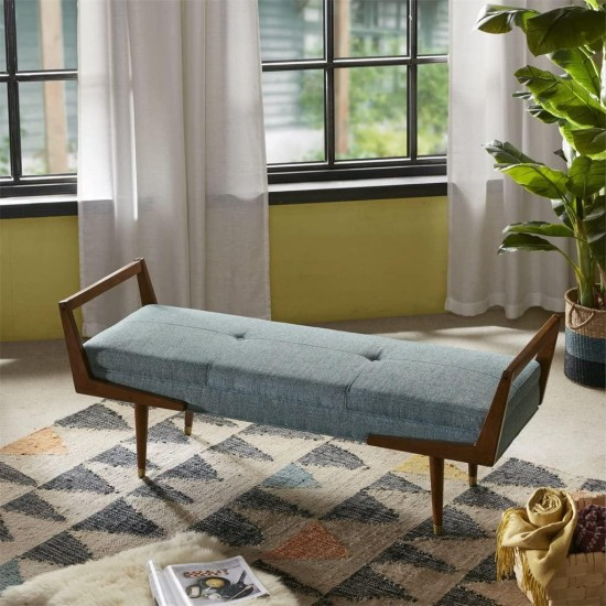 Ink+Ivy Boomerang Bedroom Bench - Solid Wood, Button Tufted Design, Mid-Century Modern Style Seating Accent Ottoman, Blue/Pecan