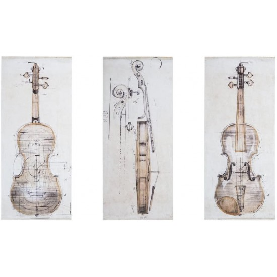 Madison Park Canvas with Hand Embellishment 3 Piece Set Home Décor Violin Study Printed Wal Art, See Below, Offwhite