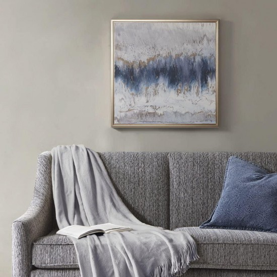Madison Park Embrace Framed Canvas with Gel Coat and Gold Foil, Blue/Grey