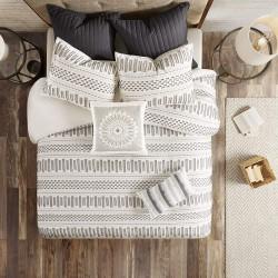 INK+IVY 100% Cotton Duvet Mid Century Modern Design All Season Comforter Cover Bedding Set, Matching Shams, Full/Queen(88
