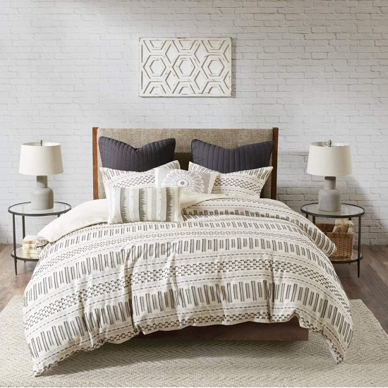 INK+IVY Rhea 100% Cotton Comforter, Clipped Jacquard Stripes Modern Luxe All Season Down Alternative Bed Set with Matching Shams, King/Cal King, Ivory/Charcoal 3 Piece