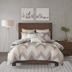 Full/Queen Size 100% Cotton Comforter Mini Set - Blush Taupe White- Broken Chevron Pattern - 3 Piece - Includes 1 comforter, 2 Shams