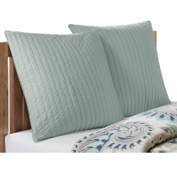 INK+IVY Camila Cotton Quilted Euro Sham-26x26 inches-Seafoam-Hidden Zipper-Insert Not Included-Sold Individually