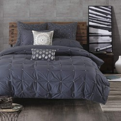 INK+IVY Masie Duvet Cover Full/Queen Size - Navy, Elastic Embroidery Tufted Ruffles Duvet Cover Set – 3 Piece – 100% Cotton Percale Light Weight Bed Comforter Covers (II12-801)