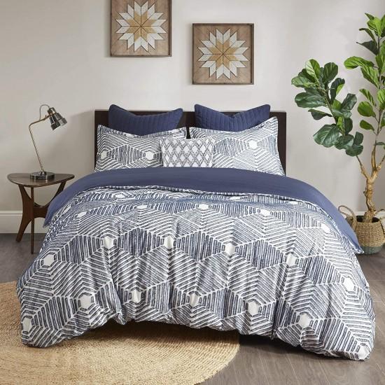 INK+IVY 100% Cotton Comforter Mid Century Modern Design All Season Bedding Set, Matching Shams, King/Cal King(104