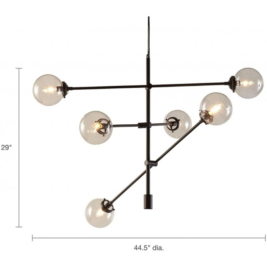 Ink+Ivy II150-0010, Cyrus Six-Light Modern Chandeliers - Height Adjustable, Plated Finish, Glass Sphere Shades Pendant Sputnik Ligthing Lamp, Dining Room Lighting Fixtures, LED Compatible, Bronze