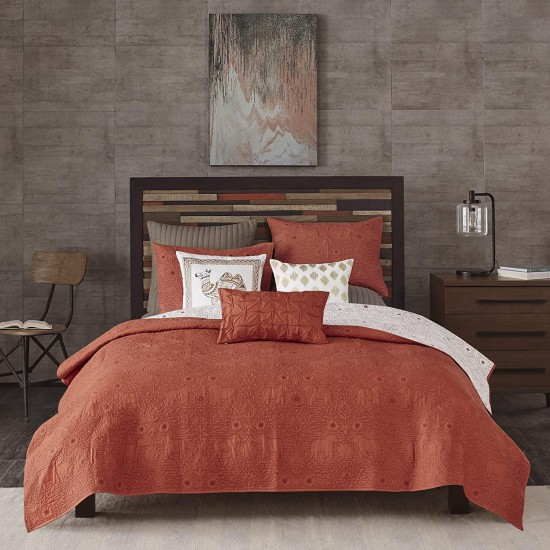 Ink+Ivy Kandula Full/Queen Size Quilt Bedding Set - Dark Orange , Quilted Floral, Elephants – 3 Piece Bedding Quilt Coverlets – 100% Cotton Percale Bed Quilts Quilted Coverlet