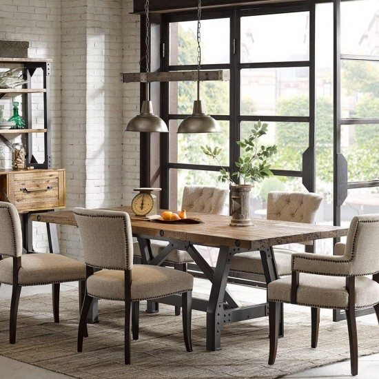 INK+IVY Lancaster Dining Solid, Metal Hardware Accent Amber Wood, Industrial Rustic Style Dinner Tables, 84