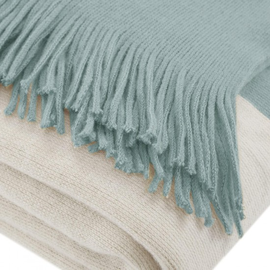 INK+IVY Stockholm Luxury Color Block Faux Cashmere Throw Aqua 50x60 Color Block Premium Soft Cozy Soft Acrylic For Bed, Couch or Sofa