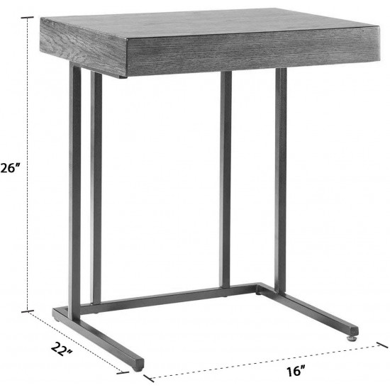 Madison Park Wynn Accent Wood with Metal Frame Snack Modern Home Office Laptop Stand with Drawer Bed Side Table Sofa For Living Room, Small