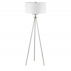 INK+IVY II154-0091 Pacific Floor Lamp-Modern Luxe Accent Furniture Décor Lighting for Living Room Metal Post Silver Tripod Uplight, Grey Round Shades, 64.5