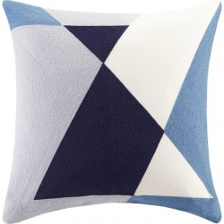 INK+IVY Aero Embroidered Abstract Square Pillow, 20x20, Blue