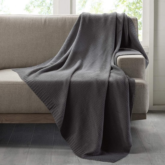 INK+IVY Bree Knit Luxury Knit Blanket Charcoal 108x90 King Size Knit Premium Soft Cozy Acrylic For Bed, Couch or Sofa
