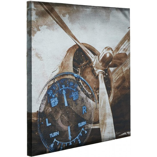 INK+IVY History Of Aviation II Aeroplane Propeller Wall Canvas Art-Metallic Vintage Aircraft Engine Painting-1 Piece Living Room Décor, See below, Bronze