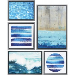 Madison Park, Water Tide 5 Piece Set Wall Art Gel Coated Finished, Oversize Framed Canvas, Modern Abstract Design, Global Inspired Coastal Painting Living Room Accent Décor, Blue Multi, 25.6 x 17.6