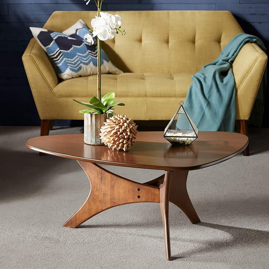 Ink+Ivy Blaze Accent Tables - Wood Coffee Table - Solid Rubberwood Pecan Finish, Contemporary Style Cocktail Tables - 1 Piece Solid Wood Coffee Tables For Living Room