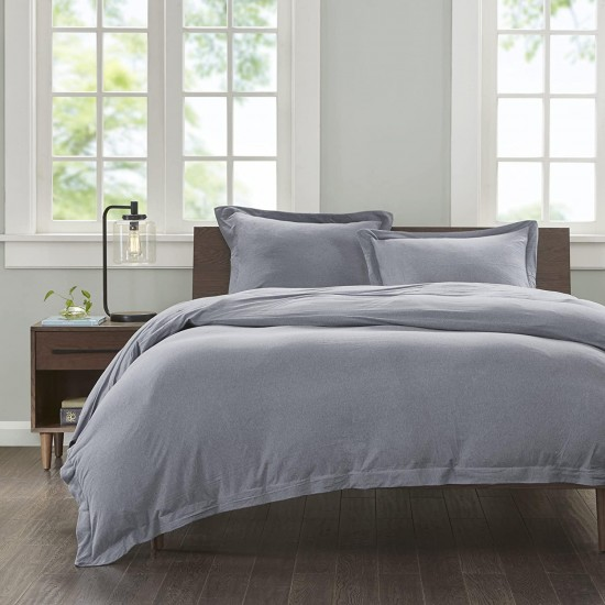 INK+IVY 100% Cotton Jersey Knit Heathered Fabric Duvet, Modern All Season Comforter Cover Bedding Set with Matching Sham, Full/Queen, Grey