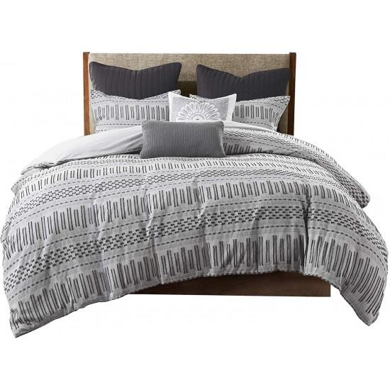 INK+IVY 100% Cotton Duvet Set Mid Century Modern Design, All Season Comforter Cover Bedding Set, Matching Shams, Full/Queen(88