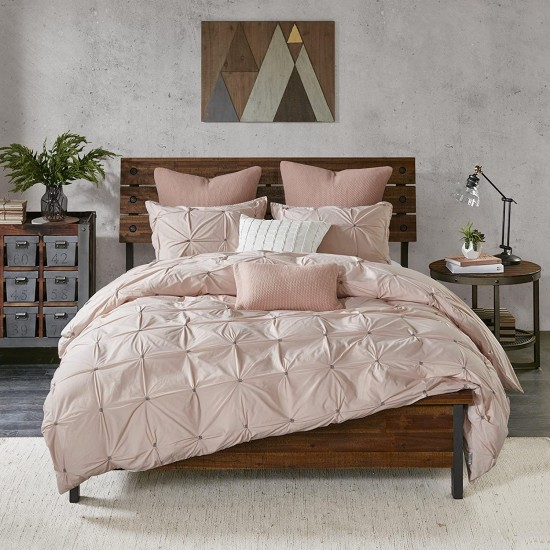 Ink+Ivy Masie Duvet Cover Full/Queen Size - Blush , Elastic Embroidery Tufted Ruffles Duvet Cover Set – 3 Piece – 100% Cotton Percale Light Weight Bed Comforter Covers