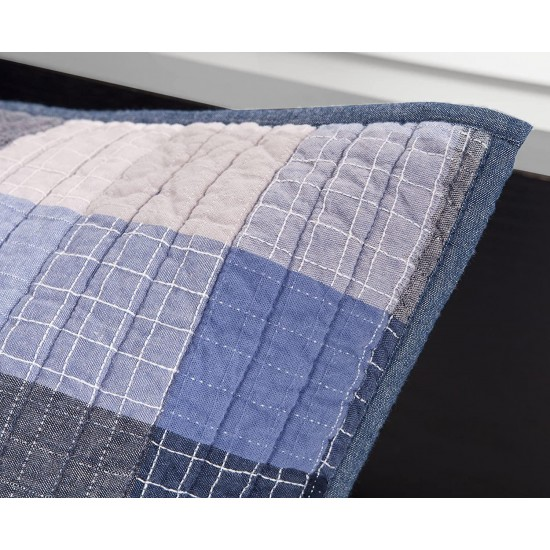 Ink+Ivy Maddox Twin Size Teen Boys Quilt Bedding Set - Navy, Black , Plaid – 2 Piece Boys Bedding Quilt Coverlets – 100% Cotton Yarn And Cotton Percale Bed Quilts Quilted Coverlet