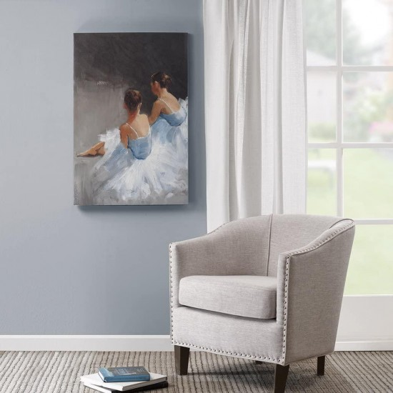Dance with Me Blue Grey Canvas Wall Art 24X36, Typography Modern/Contemporary Painted Hand Embellished Wall Décor