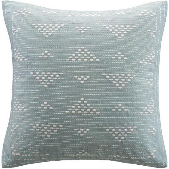 INK+IVY Cario Embroidered Cotton Modern Throw Pillow, Casual Geometric Square Fashion Decorative Pillow, 18X18, Blue