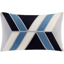 INK+IVY II30-758 Aero Embroidered Abstract Decorative Pillow 12x20 Blue