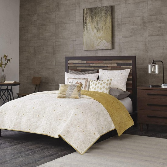 Ink+Ivy Kandula King/Cal King Size Quilt Bedding Set - Mustard Yellow , Quilted Floral, Elephants – 3 Piece Bedding Quilt Coverlets – 100% Cotton Percale Bed Quilts Quilted Coverlet
