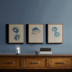 Madison Park Blue Print Botanicals Wall Art - Painted Linen Canvas Home Décor, Abstract Stretched 3 Piece Set Painting for Living Room Accent, Easy to Hang Wooden Frame, Blue (MP95C-0058)