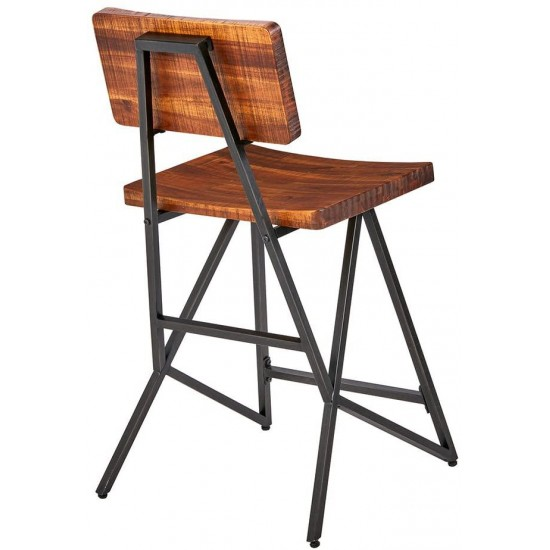 INK+IVY Trestle Counter Height Barstool with Back Modern Industrial Solid Wood, Metal Frame, Amber Pub Stool, 24 Inch, Reclaimed Brown/Gun