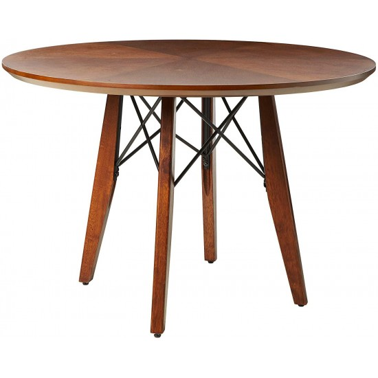 Ink+Ivy Clark Dining Table Height Adjustable to Counter-Height, Round Solid Wood Sits 4 Mid-Century Modern Kitchen, Pub Style, Breakfast Nook Furniture, Pecan