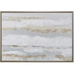 Madison Park Strato Wall Art-Abstract Hand Embellishment Foil Accent Modern Contemporary Canvas Painting Gold Framed Living Room Décor, Natural