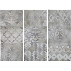 Madison Park Watercolor Ikat Taupe Wall Art Bohemian Design Print Modern 3 Piece Home Painting Gel Coat Canvas, Living Room Décor, Natural