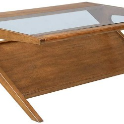 Ink+Ivy Rocket Coffee Table - Solid Wood, Glass Tempered Tabletop with Lower Magazine Display Shelf Industrial Vintage Style Accent Living Room Furniture