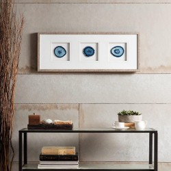 Madison Park Blue Trio Wall Art-Glass Framed Panel Natural Agate 4 Inch Geode Stones Living Room Décor, See