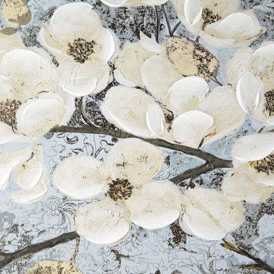Madison Park Luminous Bloom Wall Art Living Room Décor - Floral Brushstroke Hand Embellished Canvas Home Accent Modern Bathroom Decoration, Ready to Hang Painting for Bedroom, 39