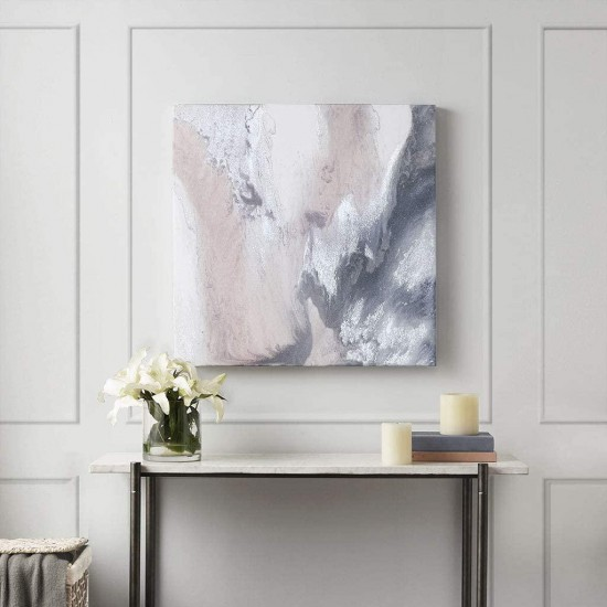 Madison Park Blissful Abstract Wall Art Modern Home Décor Painting Gel Coat Canvas with Silver Foil Embellishment, See Below, Blush