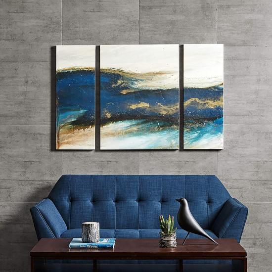 INK+IVY Rolling Waves Wall Art 3 Pieces Gel Coated Canvas, Blue