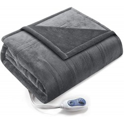 Comfort Spaces CS58-0138 Luxury Microplush 1 Piece Electric Wrap Blanket Super Soft and Warm Reversible Heated Throw Poncho with Auto Shutoff, 50
