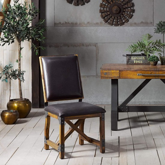 INK+IVY Lancaster Dining Chairs - Solid Wood, Metal Kitchen Stool with Back Rest - Amber Wood, PU Cover Industrial Style Stools - 1 PC Dinner Furniture, Chocolate, 38.5 inch